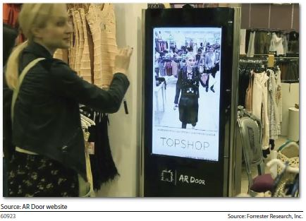 Topshop allow shoppers to virtually try on garments before taking them to the changing room.